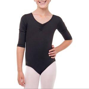 3/4 sleeve black ballet leotard